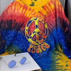 A Peace T-shirt and a pair of Lennon eyeglasses!